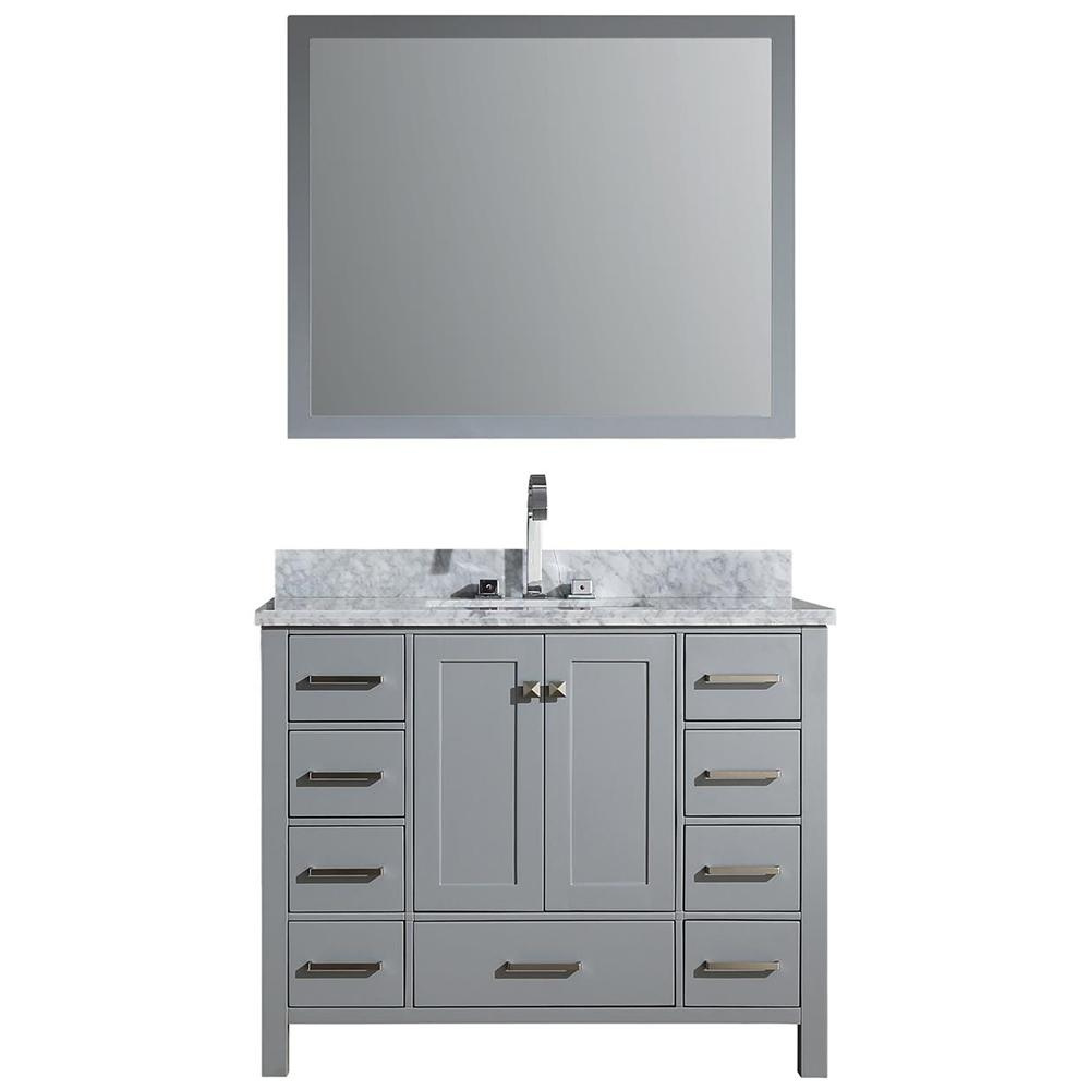Ariel Cambridge 43 in. Vanity in Grey with Carrara Marble Vanity Top in White with White Basin and Mirror