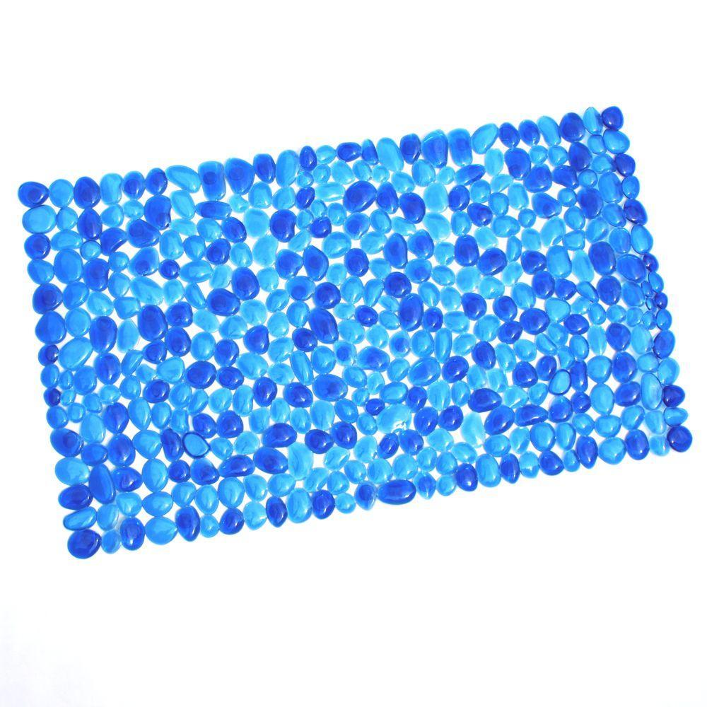 17 in. x 30 in. Pebble Bath Mat in Blue