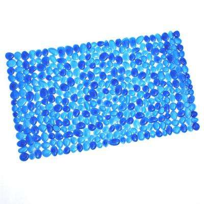 17 in. x 30 in. Pebble Bath Mat in Blue