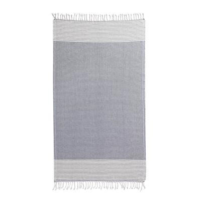 Turkish Blue and Ivory Cotton Beach Towel