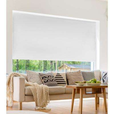 Cut-to-Width Shadow White 12G Blackout Cordless Vinyl Roller Shade - 55 in. W x 72 in. L