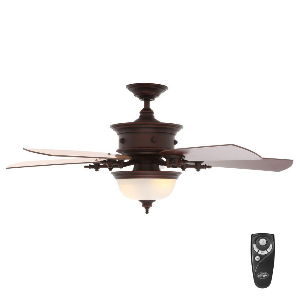 Indoor Weathered Copper Ceiling Fan With Light Kit And Remote
