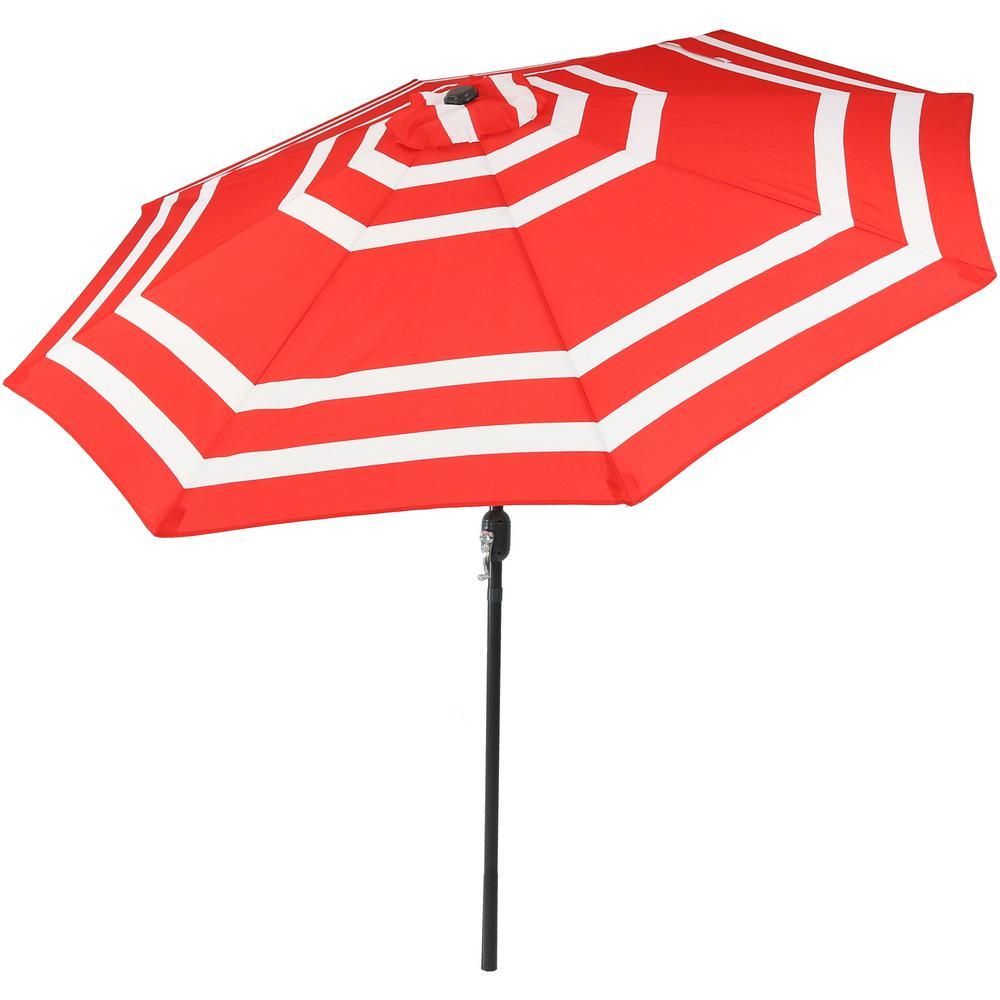 9 ft. Aluminum Market Tilt Patio Umbrella in Red Stripe