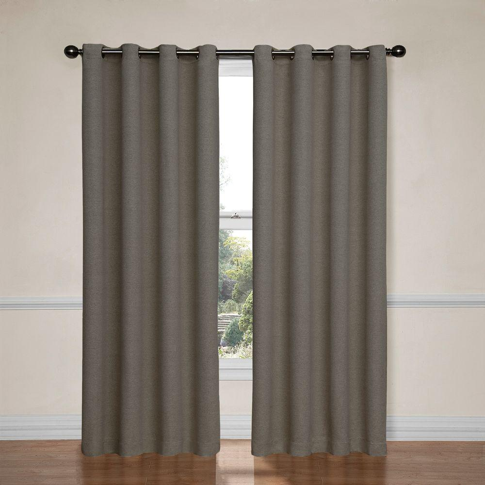 Eclipse Bobbi Blackout Pewter Polyester Curtain Panel 84 In Length 12966052084PWT
