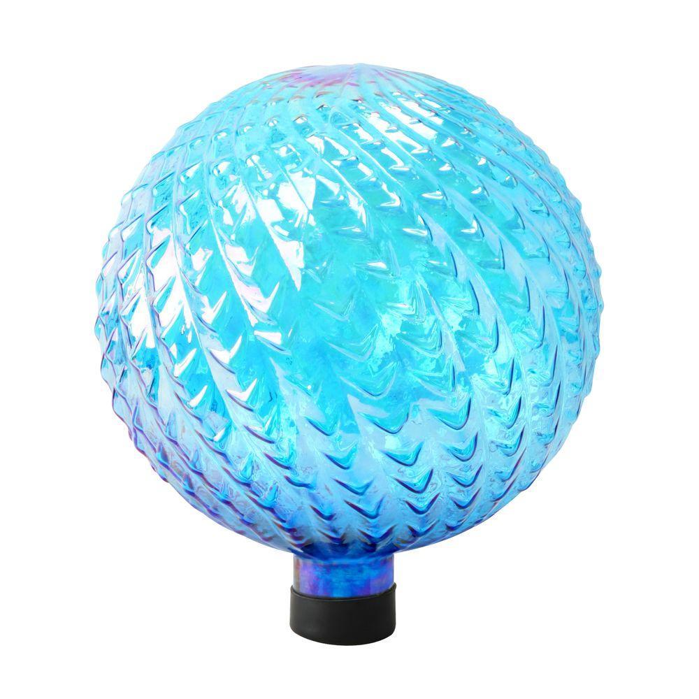 10 in. Blue Glass Gazing Globe with Arrow Texture