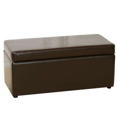 Chocolate Brown Bonded Leather Bench-Style Storage Ottoman