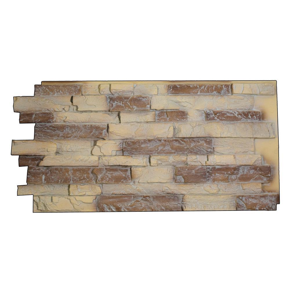 Snodonia Faux Stone Panel 1-1/4 in. x 48 in. x 24 in. Almond Polyurethane Interlocking Panels