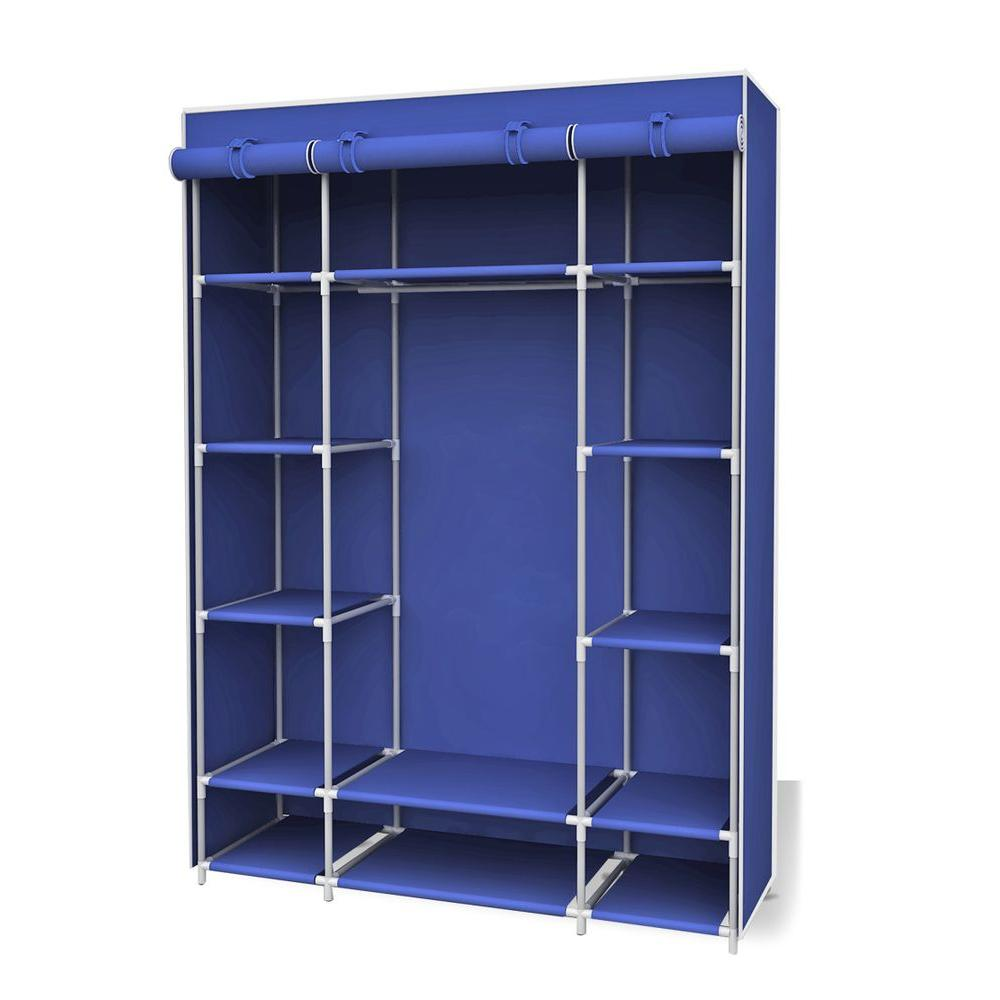 Navy Storage Closet Portable Wardrobe With Shelf
