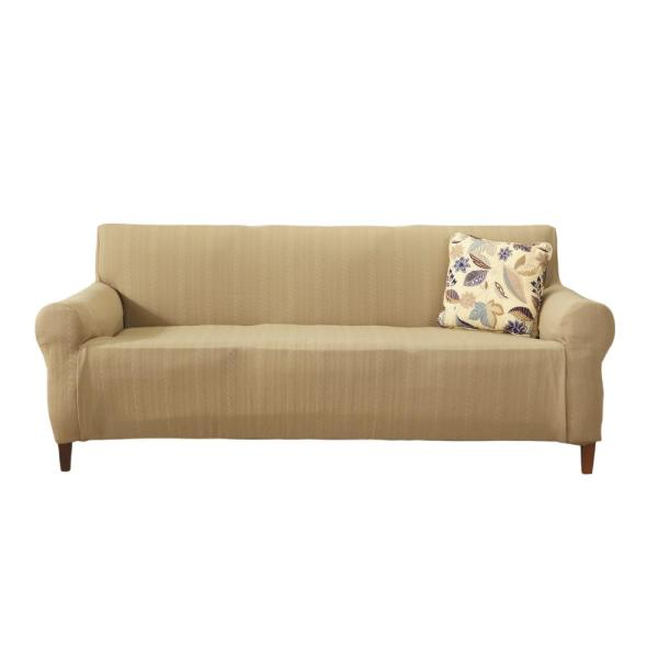 Great Bay Home Darla Collection Flax Luxurious Cable Knit Stretch Fit Form Fitting Sofa Slipcover