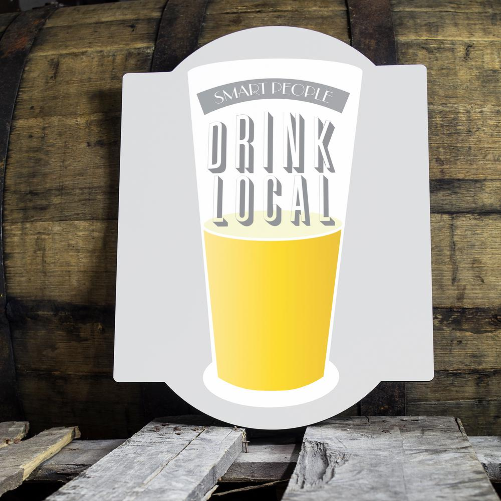 15 in. x 11 1/2 in. Drink Local Beer Glass Wooden Wall Art-DLB-BS60 ...