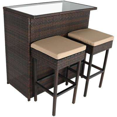 Melindi 3-Piece Wicker Rattan Outdoor Serving Bar Set with Tan Cushions