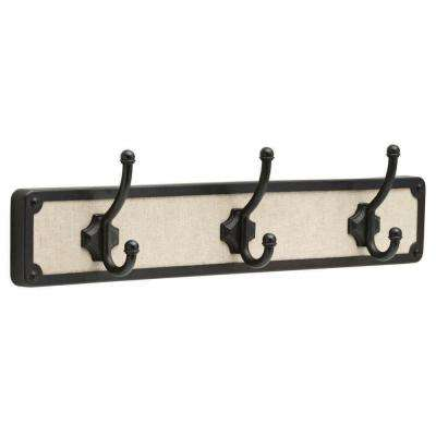 18 in. Linen Fabric and Soft Iron Linen Hook Rack with 3 Hooks