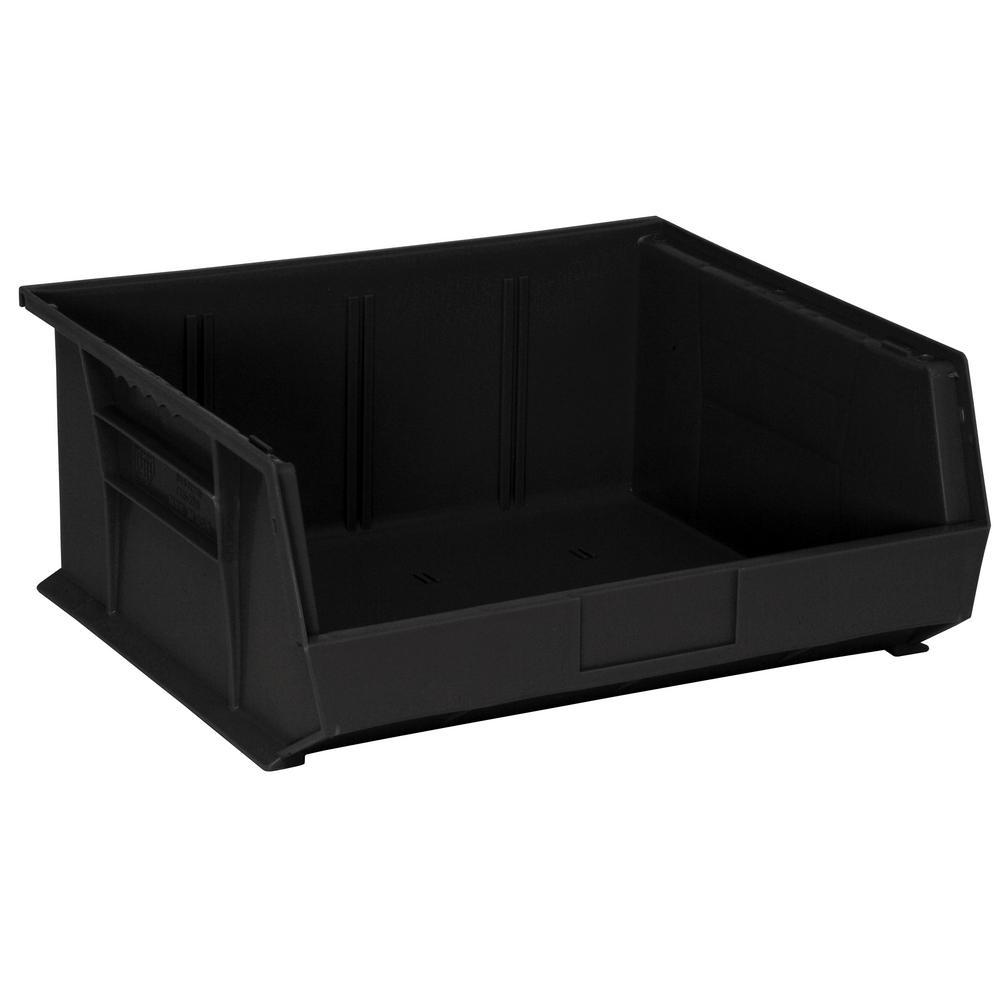 Ultra Series Stack and Hang 8.9 Gal. Storage Bin in Black (6-Pack)