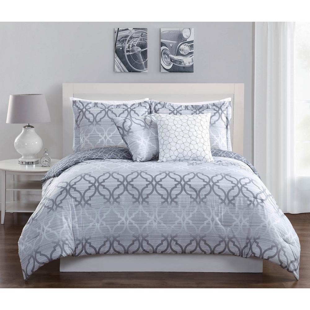 Studio 17 Chrissy Charcoal 5-Piece Full/Queen Comforter Set
