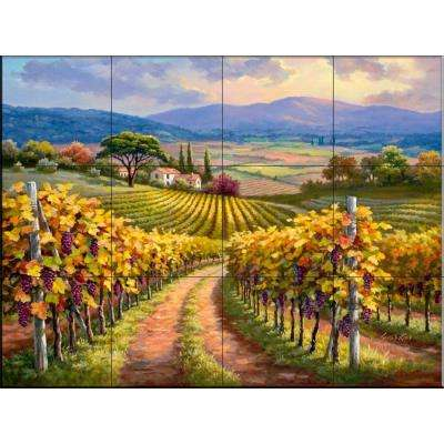 Vineyard Hill I 24 in. x 18 in. Ceramic Mural Wall Tile