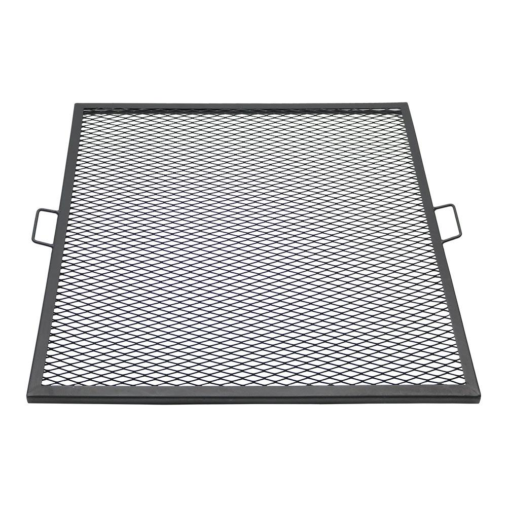 X Marks Black Steel Square Fire Pit Cooking Grill Grate