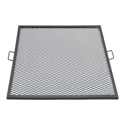 36 in. X-Marks Black Steel Square Fire Pit Cooking Grill Grate