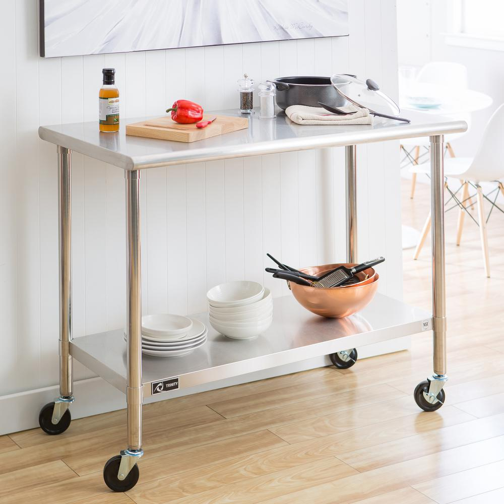 EcoStorage In NSF Stainless Steel Table With WheelsTLSC - Stainless steel work table with casters