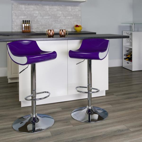 Carnegy Avenue Carnegy Avenue 34 in. Purple and White Bar Stool