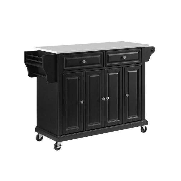 Full Size Black Kitchen Cart with White Granite Top