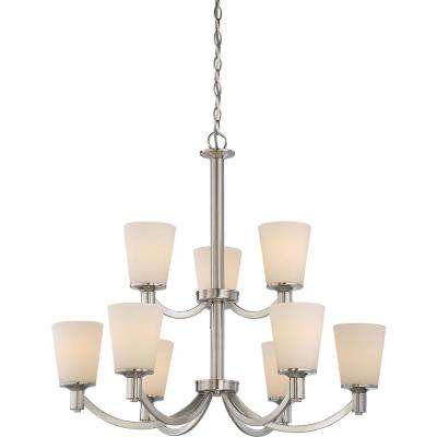 9-Light Brushed Nickel Chandelier with White Glass Shade