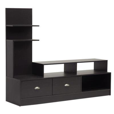 Armstrong 60 in. Dark Brown Wood TV Stand with 2 Drawer Fits TVs Up to 30 in. with Built-In Media Storage
