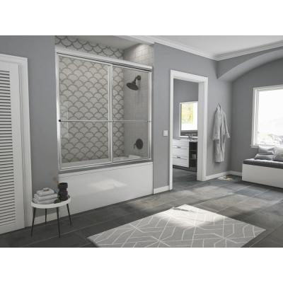 Newport 56 in. to 57.625 in. x 55 in. Framed Sliding Bathtub Door with Towel Bar in Chrome with Clear Glass