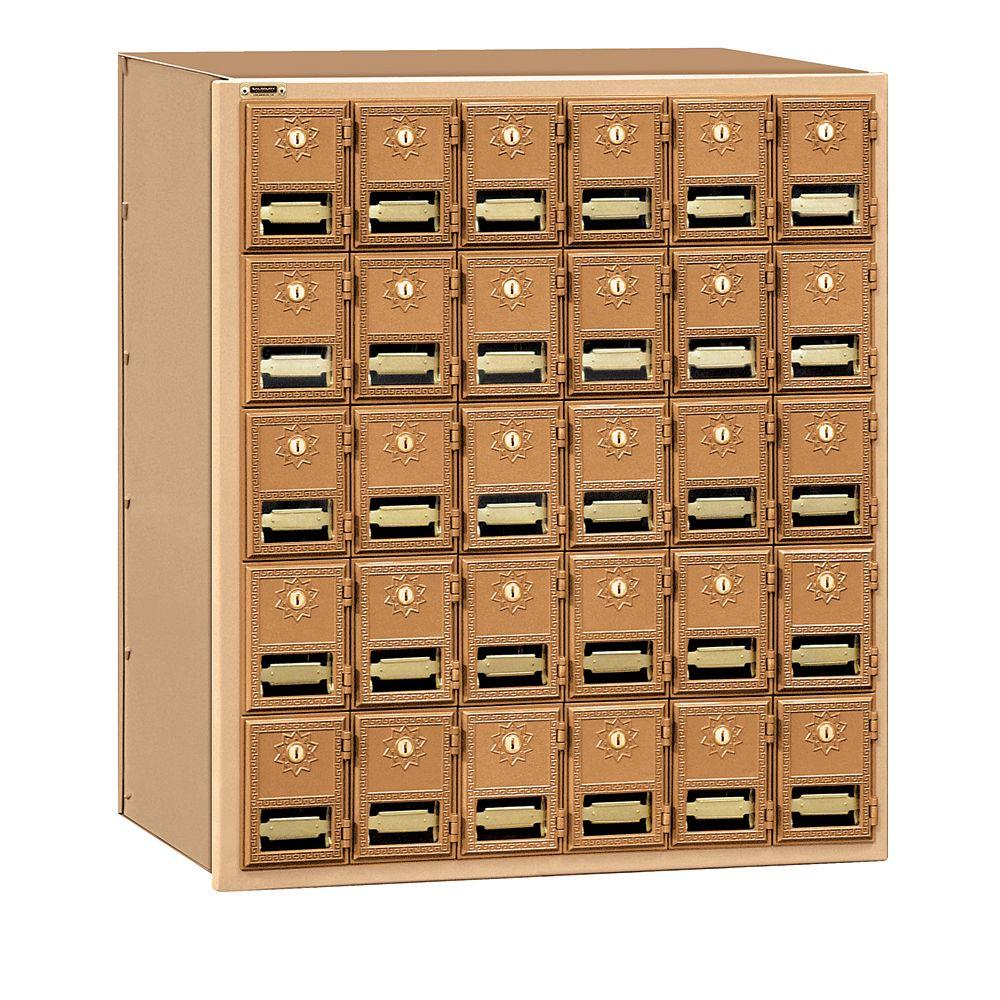 2000 Series Brass Rear Loading Mailbox with 30 Doors