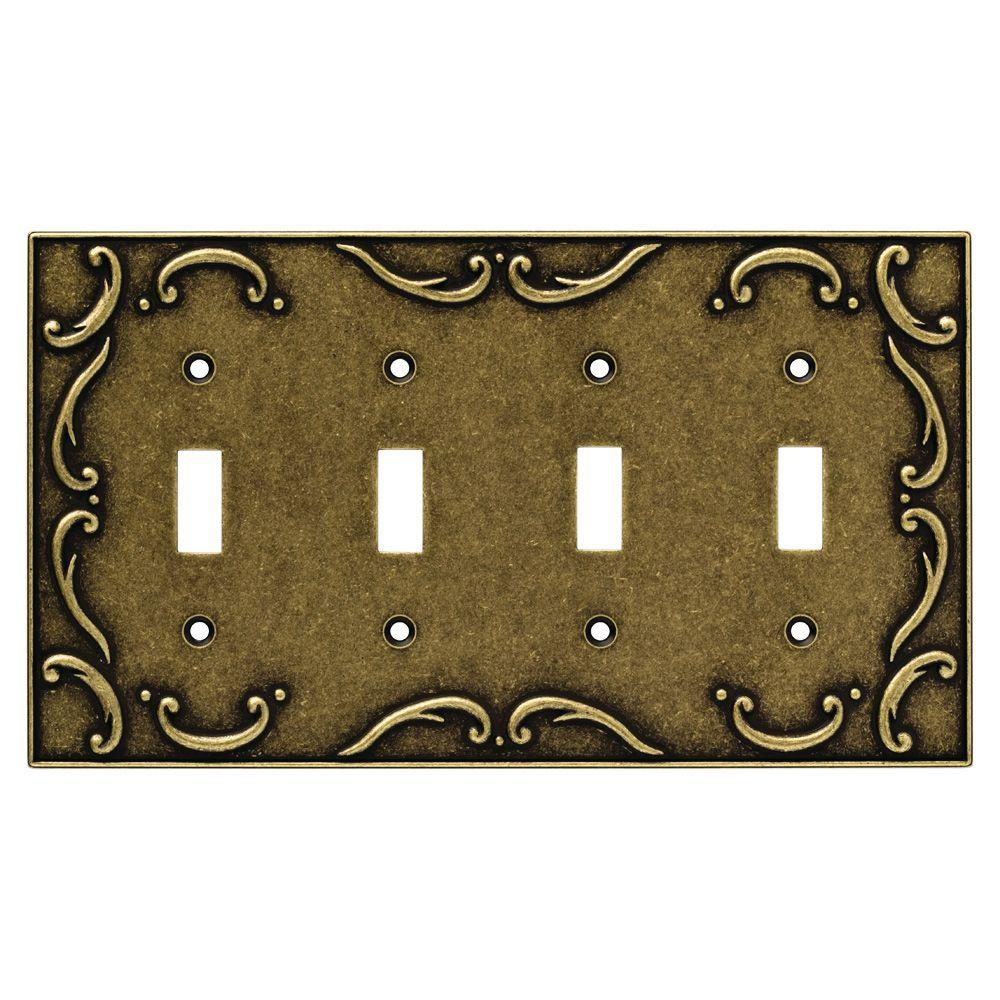 French Lace Decorative Quadruple Switch Plate, Burnished Antique Brass