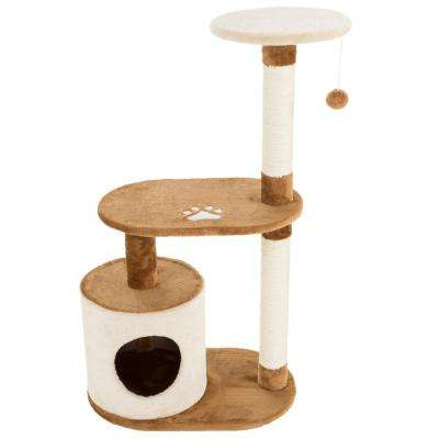 Brown and White 3 Tier Cat Tree Condo with Scratching Posts