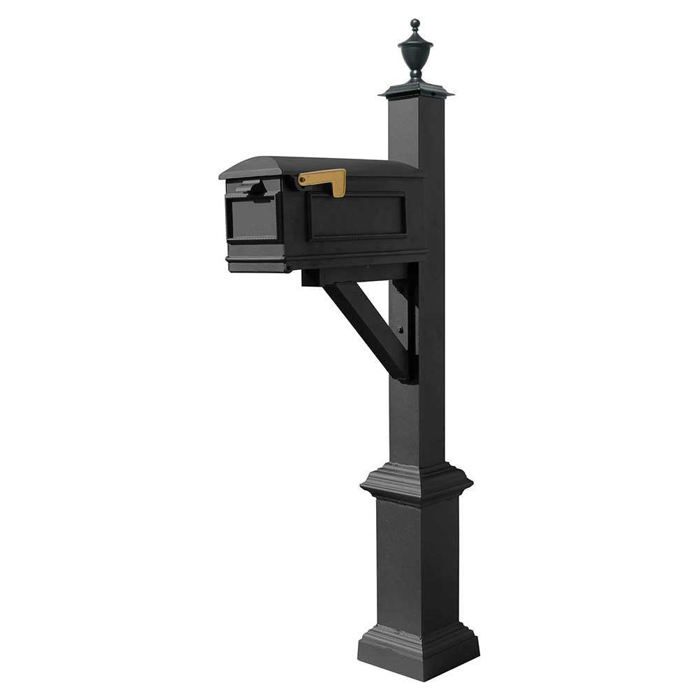 Westhaven Black Post Mounted Non-Locking Cast Aluminum Mailbox System