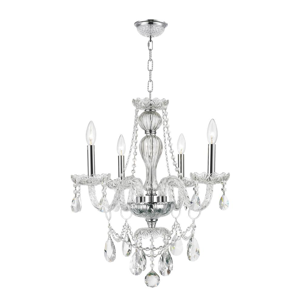 Worldwide Lighting Provence 4-Light Polished Chrome and Clear Crystal Chandelier
