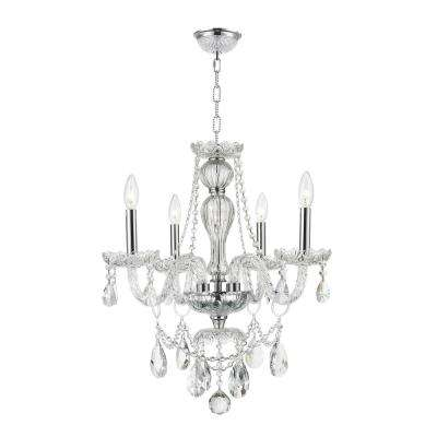 Provence 4-Light Polished Chrome and Clear Crystal Chandelier