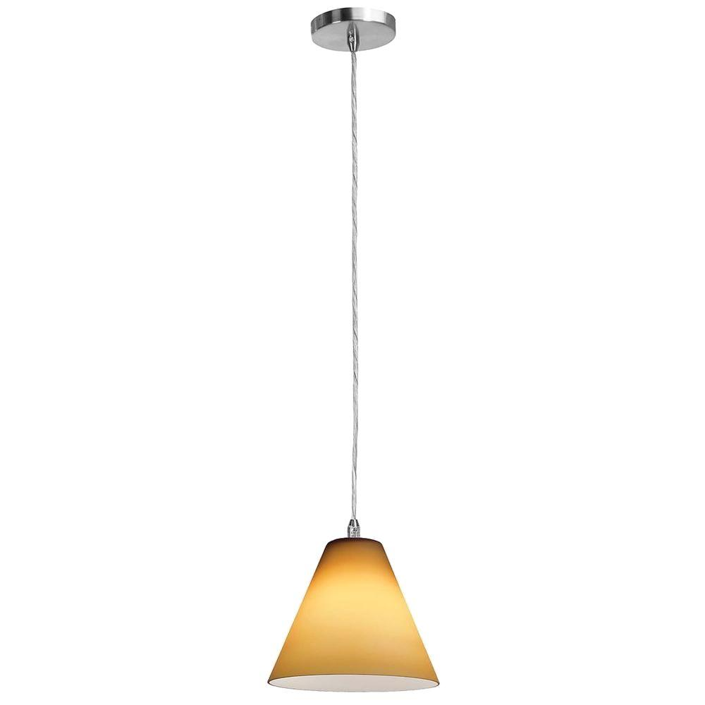 Access Lighting 1-Light Pendant Brushed Steel Finish Amber Glass-DISCONTINUED