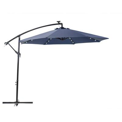 10 ft. Round Cantilever Solar Powered Patio Umbrella in Navy