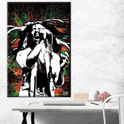 24 in. x 36 in. Bob Marley Paint Splash Gallery Wrapped Canvas