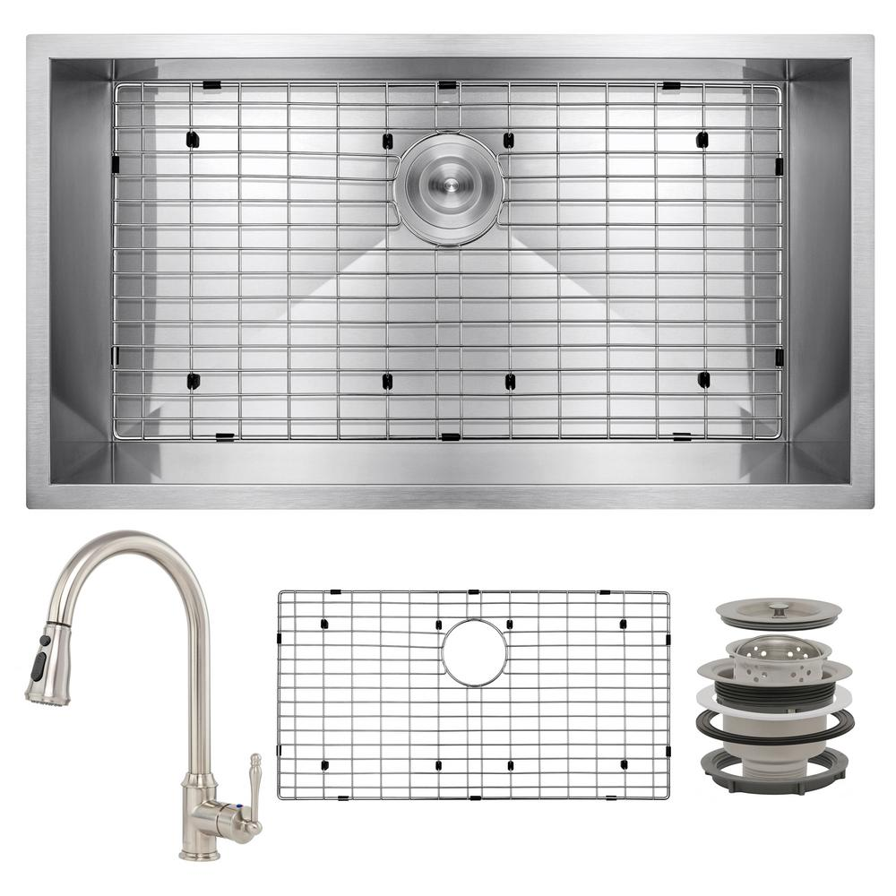AKDY Handmade All-in-One Undermount Stainless Steel 32 in. x 18 in. Pull-down Faucet and Bottom Grid Single Bowl Kitchen Sink, Brushed Stainless Steel was $468.0 now $299.99 (36.0% off)