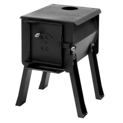 Survivor 1 cu. ft. Firebox Camp Stove Portable Charcoal Grill in Black