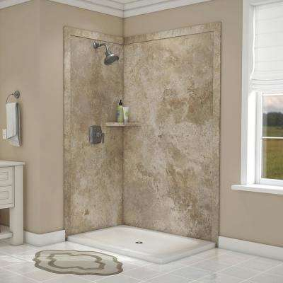 Elegance 36 in. x 48 in. x 80 in. 7-Piece Easy Up Adhesive Corner Shower Wall Surround in Mocha Travertine