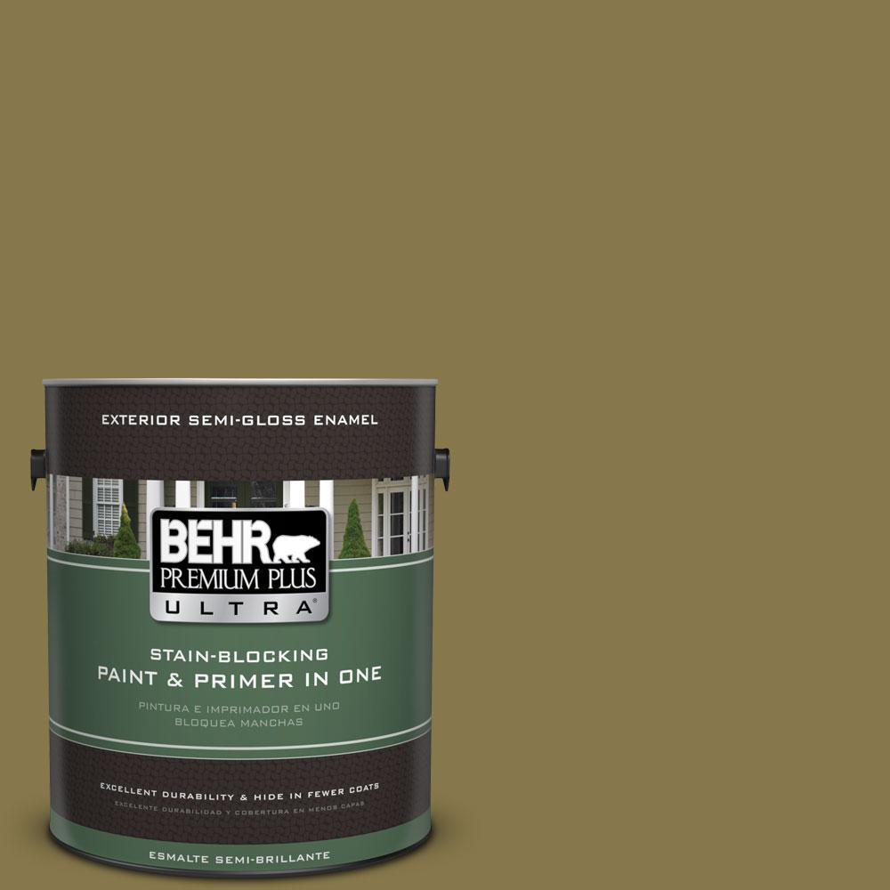 1-gal. #M330-7 Green Tea Leaf Semi-Gloss Enamel Exterior Paint