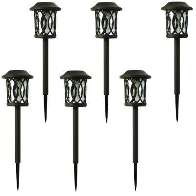 Solar landscape lighting outdoor lighting the home depot solar bronze outdoor integrated led 3000k 6 lumens landscape pathway light 6 pack aloadofball Image collections