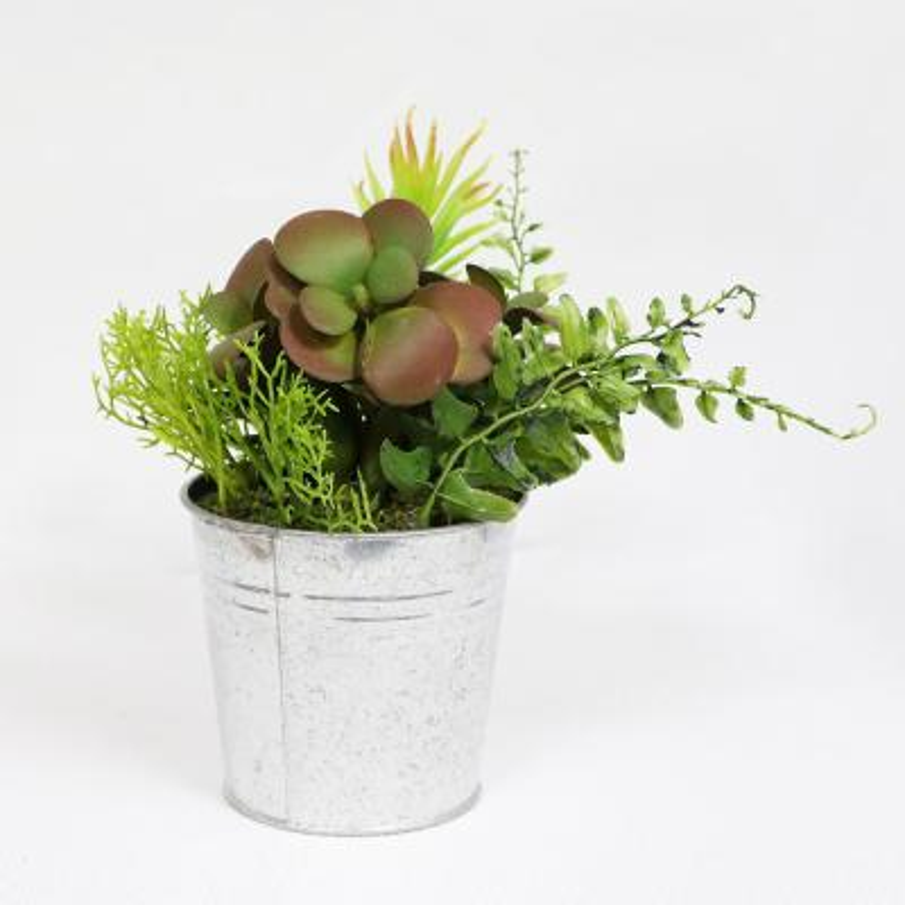 8 in. Indoor Artificial Succulents in Metal Pot