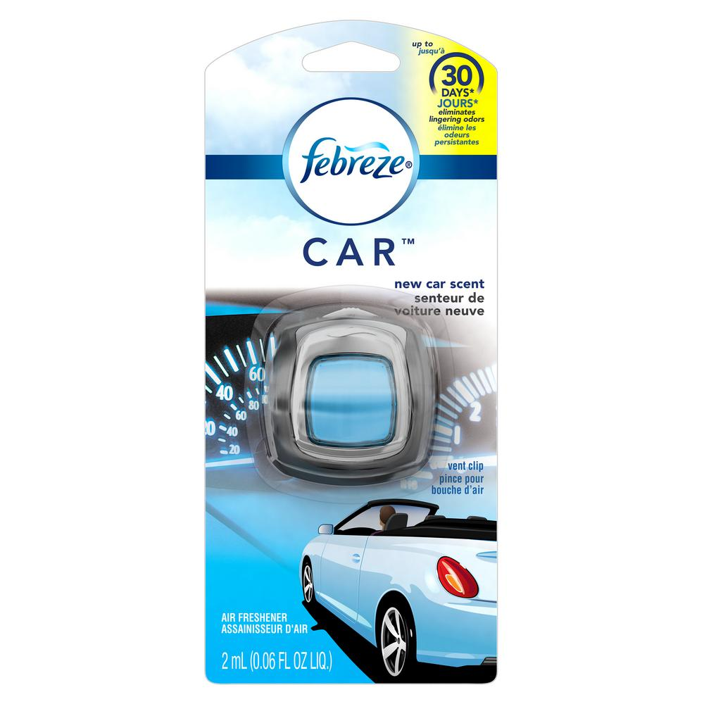Febreze Car Vent Clips Air Freshener Odor Eliminator New: Febreze 0.06 Oz. New Car Scent Car Vent Clip Air Freshener