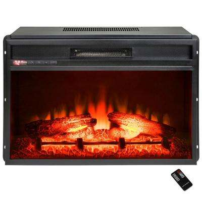 23 in. Freestanding Electric Fireplace Insert Heater in Black with Tempered Glass and Remote Control
