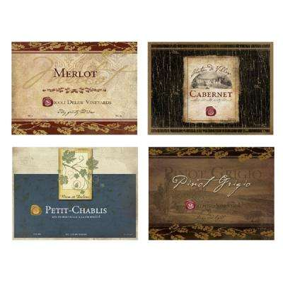 Rustic Wine Labels Multi-Colored TV Tray with Stand (Set of 4)