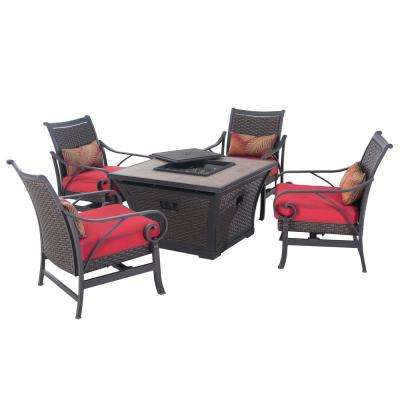 Cald 5-Piece Patio Fire Pit Conversation Set with Red Cushions