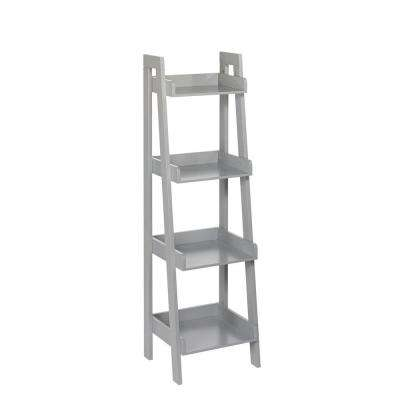 13 in. x 44 in. 4-Tier Ladder Shelf for Kids in Gray
