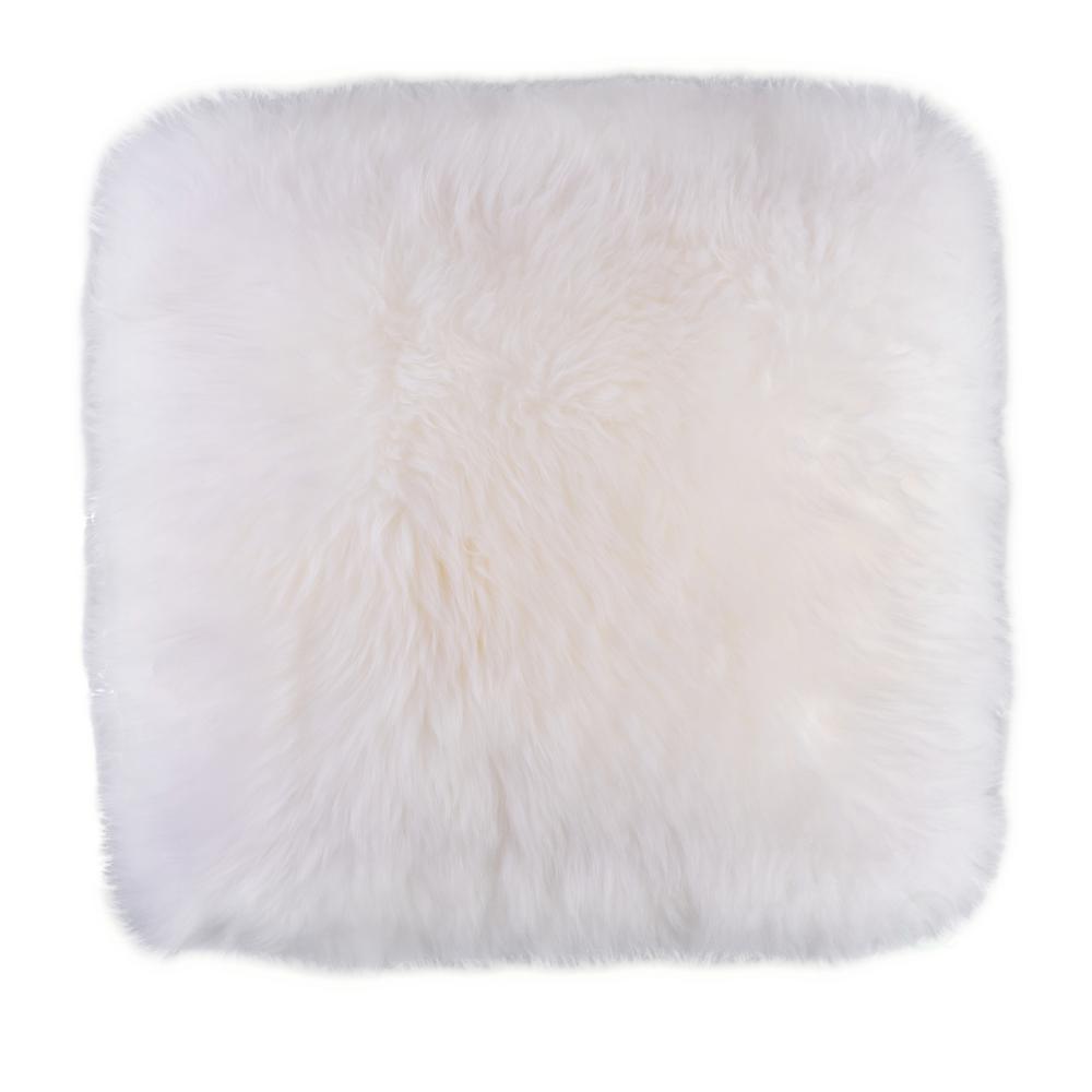 DEERLUX Genuine Australian Lamb Fur Sheepskin White 16 in. Square Pillow Cover