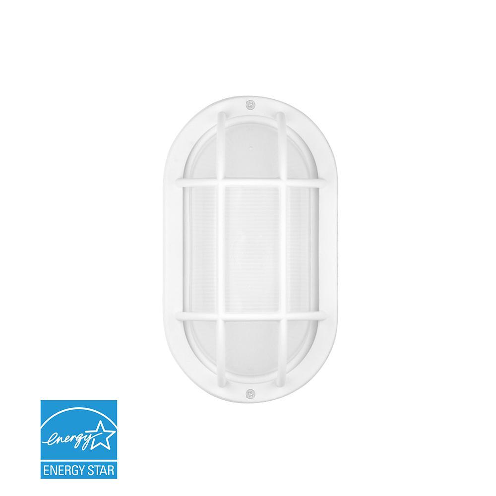 White Outdoor Integrated LED Bulkhead Wall Light