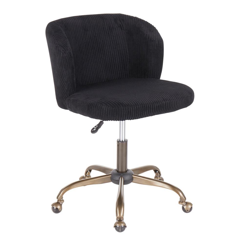 Fran Antique Black Corduroy Adjustable Task Chair